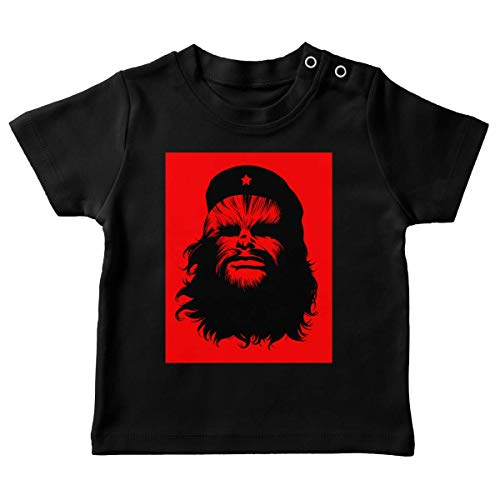 T-Shirt bébé Noir Parodie Star Wars - Chewbacca - Chewie Guevara (T-Shirt de qualité Premium de Taille 6 Mois - imprimé en France)