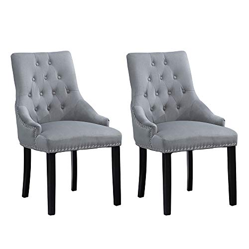 BOJU Set of 2 Tufted Velvet Fabric Dining Chairs with Arms Occasional Upholstered Kitchen Armchairs Studded with Knocker Ring Restaurant Bedroom Dressing Table Living Room Side Chairs (Light Grey, ×2)