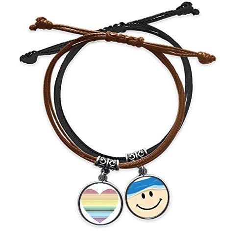 Bestchong Pulsera de piel con forma de corazón con forro LGBT con diseño de arco iris gay
