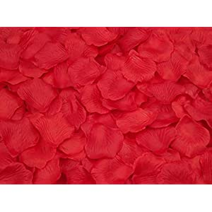 Pétalos de rosas artificiales de seda para bodas, fiestas, flores, flores de boda, paquete de 1000 unidades (1 # rojo)