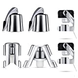 6 Pieces Champagne Sealer Stopper Wine Bottle Plug Stainless Steel Wine Topper Stoppers with Silicone Bottle Sealer for Keeping Wine Fresh, Compatible with Prosecco, Cava Champagne and Wine Bottles