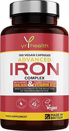 Iron Supplement, 20mg Maximum Strength Anti Fatigue Complex - 180 Vegan Capsules not Iron Tablets for Men & Women with Vitamin B12, Folic Acid, Vitamin C, B6, Zinc, Copper - Made in The UK by YrHealth