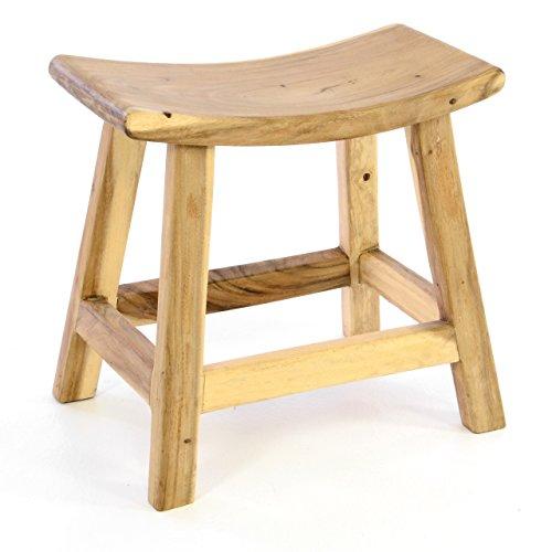 Divero HM50101 Hocker Sitzhocker Holzhocker Badhocker Duschhocker Schemel – Suar Holz massiv unbehandelt Reine Handarbeit-braun