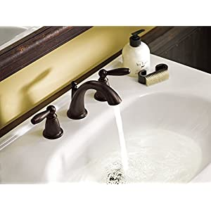 Moen T6620ORB-9000 Brantford Two-Handle Low Arc Bathroom Faucet with Valve, Oil Rubbed Bronze