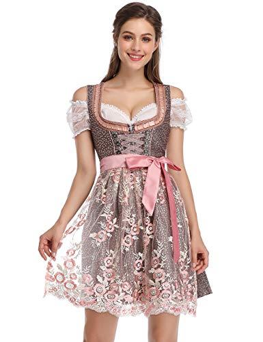 KOJOOIN Trachtenkleid Damen Dirndl Kurz mit Stickerei Exklusives Designer für Oktoberfest - DREI Teilig: Kleid, Bluse, Spitzenschürze EIS-Rosa 40