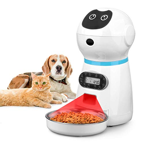 Cepheus Automatic Cat Feeder, Auto Dog Food Dispenser with Stainless Steel Food Bowl,1-4 Meals per Day Voice Recorder & Portion Control for Small/Medium Pets
