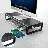 Vaydeer Aluminium Monitor Stand mit USB 3.0 Hub und Schnellladecomputer iMac Stand MacBook Stand Riser für 27' Monitor oder 33 kg - Aufbewahrung für Magic Keyboard & Mouse - Schwarz