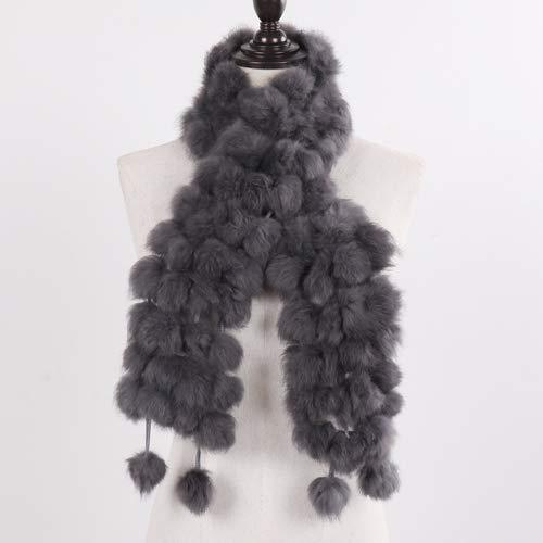 WEIYIM Winter Schal Damen Natürliche Echtpelz Schal Für Den Winter Warm 100% Authentische Kaninchenfell Schal Damenmode Echte Kaninchenfell Schal