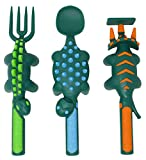 Constructive Eating Dinosaur Set of 3 Utensils for Toddlers, Infants, Babies and Kids - Flatware Set is Made in The USA Using Materials Tested for Safety, Green