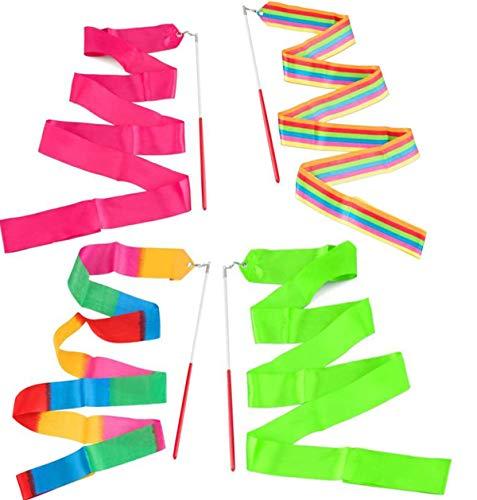 BOBOZHONG Gymnastikband Stäbe,4Pack Tanzbänder,Regenbogen Luftschlangen Rhythmische Gymnastik Band,Tanzen Streamer,für Kinder Artistic Dancing Gym Circus Training (2 Meter)
