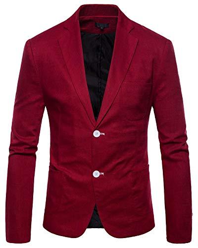 Yanlian Slim Fit Herren Bunter Sakko Muster Casual Blazer Jacke Hochzeit Party Weinrot L
