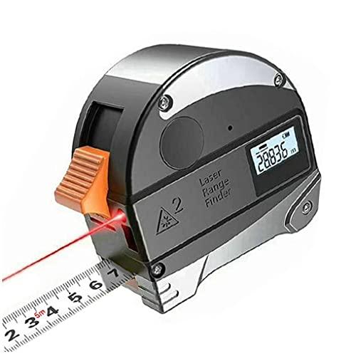 Medidor de Distancia Digital 40M Cinta métrica 5M Medir Distancia fácil de Usar y no es fácil dañar el telémetro con Pantalla LCD 2 en 1 Portable Gris