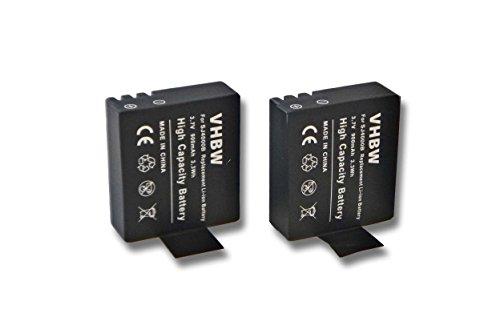 2 x vhbw Li-Ion Akku Set 900mAh (3.7V) für Videokamera Sportkamera Camcorder GitUP Git1, Git2, Kebo SJ6000 wie GIT-LB101.
