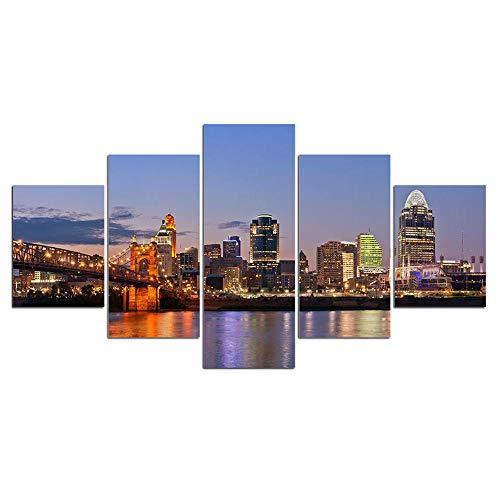 ZXYJJBCL Hermosas Ciudades Y Puentes En El Mar 5 Paneles De Arte De Pared para Obras De Arte Modernas para Sala De Estar Comedor Decoración del Hogar Regalo De Decoración
