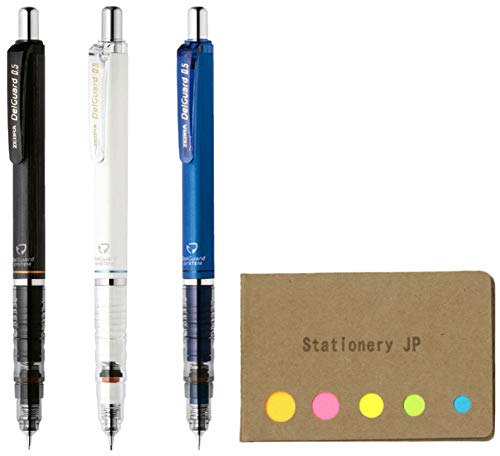 Zebra DelGuard Mechanical Pencil 0.5mm, 3 Color Body (Black/Blue/White), Sticky Notes Value Set