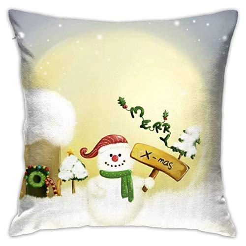 Throw Pillow Cover Cushion Cover Pillow Cases Decorative Linen Snowman X-Mas for Home Bed Decor Pillowcase,45x45CM