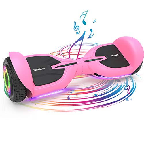 TOMOLOO Pink Hover Boards for Girl, Kid and Adult Hoverboard with Bluetooth and Music-Rhythmed LED Lights, 6.5 inch Flashing Wheels Hoover Board with Speaker, UL2272 Hoverboard Self-Balancing Scooter