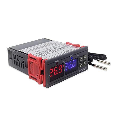 RUIZHI STC-3008 Controlador Digital de Temperatura Termostato Regulador Pantalla LED Doble Termostato para Incubadora con Doble Sensor NTC Sonda Calentador Enfriador (110-220v)
