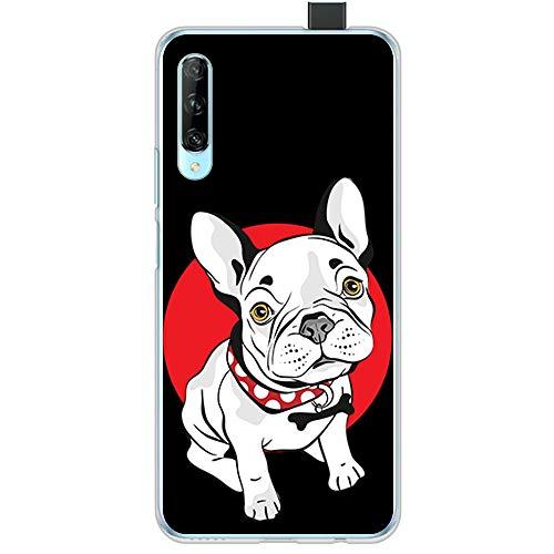 BJJ SHOP Transparent Hülle für [ Huawei P Smart Pro ], Klar Flexible Silikonhülle, Design: Weißer Welpe des französischen Bulldoggehundes