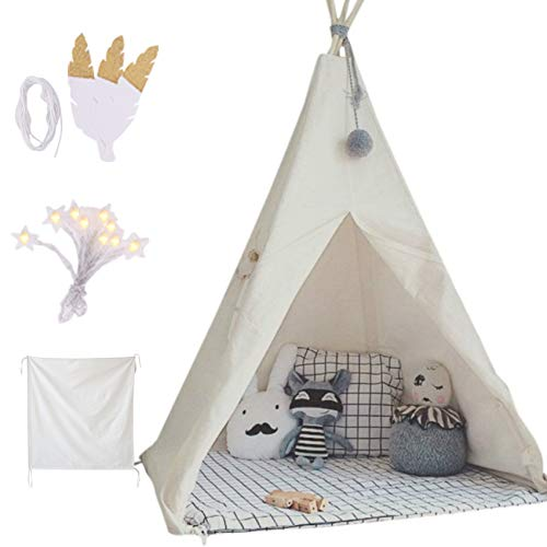 little dove Kids Foldable Teepee Play Tent with Carry Case, Banner, Fairy Lights, Feathers, Floor...