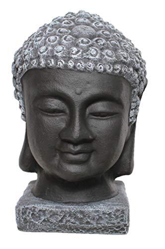 Tiefes Kunsthandwerk Buddha Kopf Statue Stein - Schwarz/Schiefergrau, Gartendeko, Figur Frostsicher