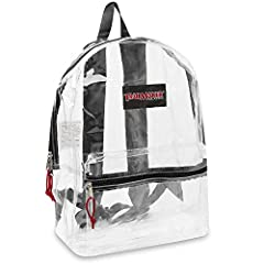"""This durable and transparent backpack is constructed from quality PVC material, making it the ideal clear backpack for schools, security, sporting events and much more! Size: H 17"""" x W 12"""" x D 5.5"""" Perfect for ages 8+ and various needs. The main comp..."""
