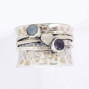 Amethyst Ring, Rainbow Moonstone Ring, Love Ring, 925 Sterling Silver Ring, Hammered Spinner Ring, Meditation Ring, Anti…