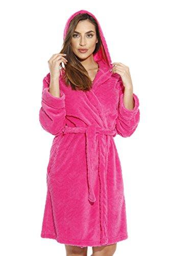 Just Love 6341-Fuchsia-XS Kimono Robe/Hooded Bath Robes for Women