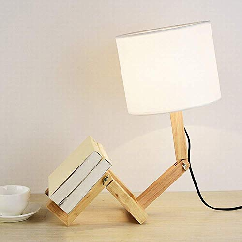 Kreative Mode Kreative Roboterförmige Tischlampe Kann Als Bücherregal Verwendet Werden Schlafzimmer Nachttischlampe Knopfschalter Holz Geeigneter Raum 35 Quadratmeter Roman, HJY