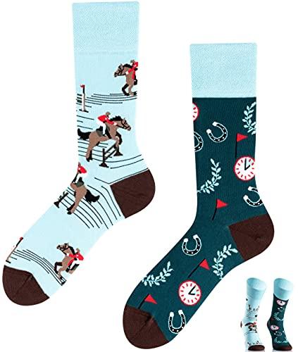 TODO Colours Lustige Socken mit Motiv - Mehrfarbige, Bunte, Verrückte für die Lebensfreude (Lucky Horse, numeric_39)