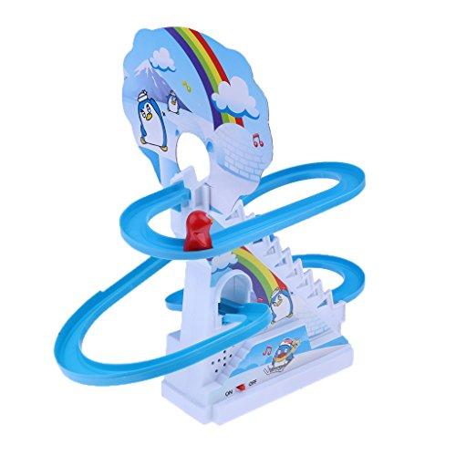Baoblaze Giocattoli Pista Corsa Elettrica Rotativa Slitta Musica Assemblati Regale Natale Plastica ABS - Pinguino
