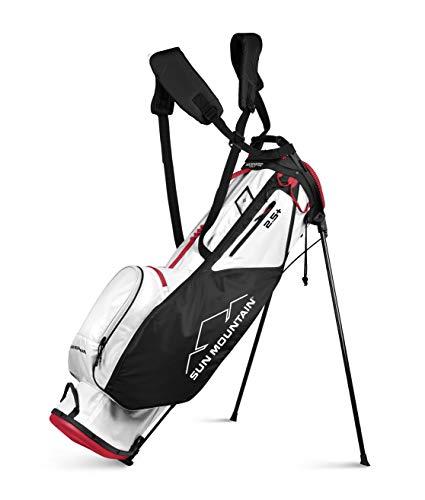 Sun Mountain 2021 2.5+ Golf Stand Bag (White-Black-RED)