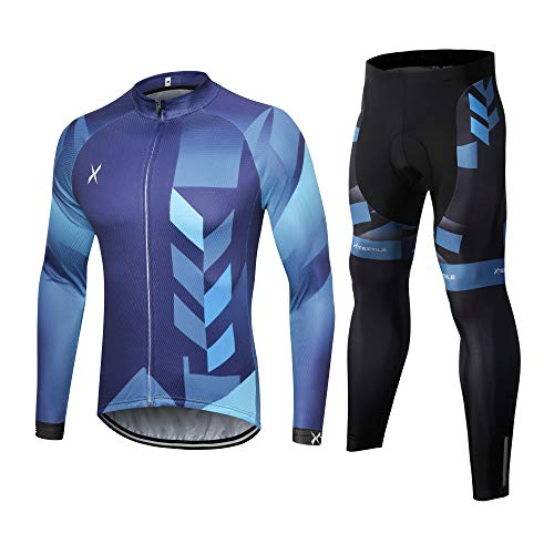 Xtextile Men's Long Sleeves Cycling Jersey Suit Bicycle Shirt Padded Tights Pants (Gradient Blue Cycling Jersey & Pants Set (Long Sleeves), XX-Large)