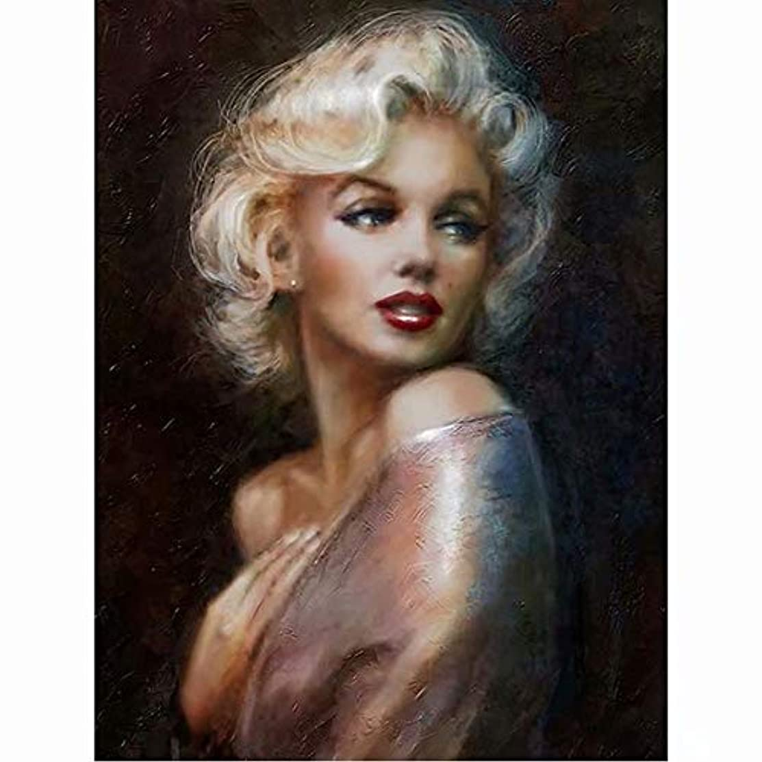 Flowerbeads Full DIY 5D Diamond Painting Kit, Marilyn Monroe Rhinestone Embroidery Cross Stitch Painting Fun for Kids and Adults