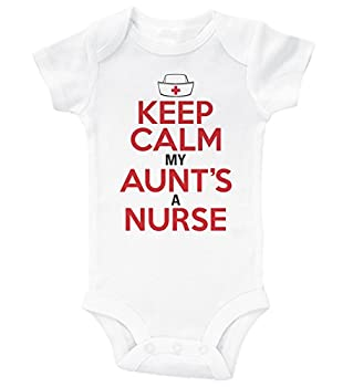 Baffle Keep Calm My Aunt s A Nurse/Funny Onesie from Aunt/Baby Shower  12MO White SS