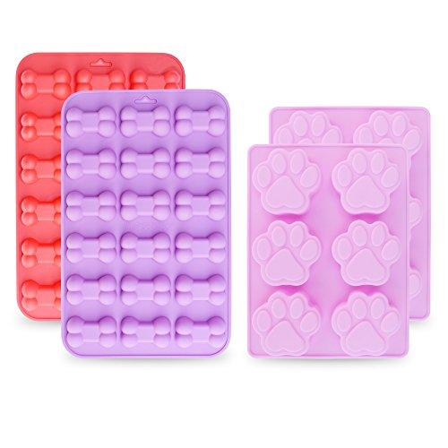 homEdge Molde de silicona antiadherente de grado alimentario para chocolate, dulces, gelatina, cubitos de hielo, juego de 4 unidades