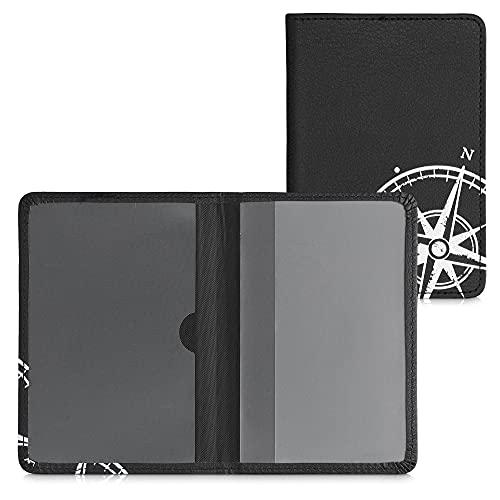 kwmobile Fahrzeugschein Hülle mit Kartenfächern - Kunstleder Etui Tasche Zulassungsbescheinigung - Kompass Vintage Weiß Schwarz