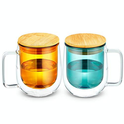 ROIMTEA Glass Tea Coffee Mug Set with Wood Lid, Double Wall Borosilicate Glass Cups for Coffee, Tea, Water, Cocoa, Milk, Blue & Orange, 250ml/8.5oz