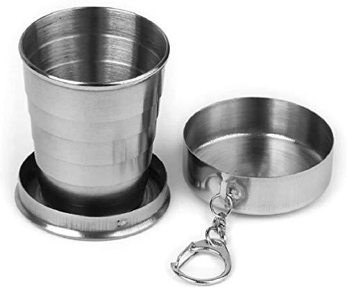 Shentian Vaso plegable de camping, de acero inoxidable, con clip de cierre a presión (250 ml)
