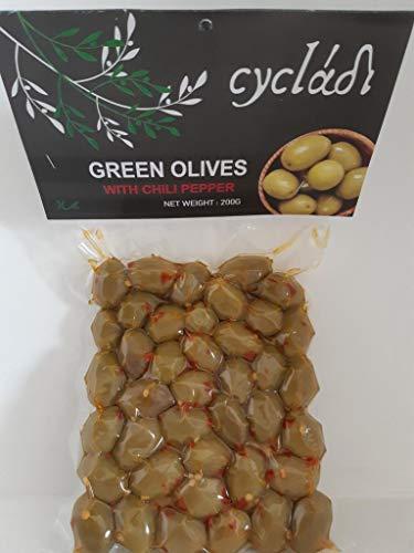 Cycladi Grüne Oliven mit Chili Vakuum-Pack 200 g