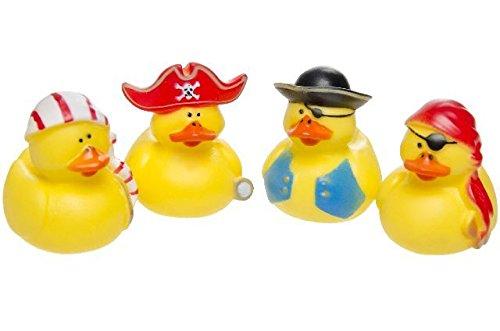 Schnooridoo 4 x Pirat Badeenten Duck Piraten Seeräuber Gummiente Ente Badewanne Spielzeug Kinder Pool