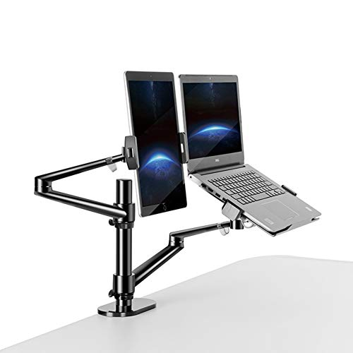 YBZS Buy It, 3 in 1 Monitor Stand, Height Adjustable Desktop Double Arms 17-32 Inch Monitor Stand + 10-17 Inch Laptop Stand + 14 Inch Tablet Stand,B
