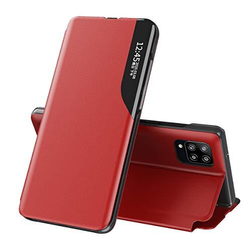 TANYO Funda Smart View para Samsung Galaxy A42 5G, Prima PU Cuero Carcasa con Clear Ventana, Moda Espejo Estuche Movil con Soporte Plegable, Case Cover - Rojo