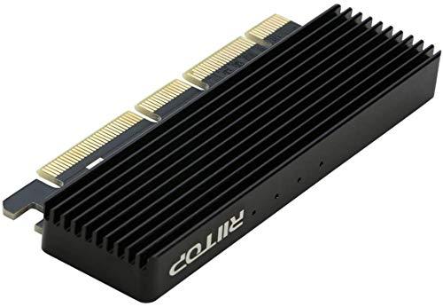 Adaptador NVMe PCIe (actualizado), RIITOP M.2 (M Key) NVMe a PCI-e 3.0 x4/x8/x16 tarjeta convertidor con disipador térmico para 2280/2260/2242/2230 NVMe SSD