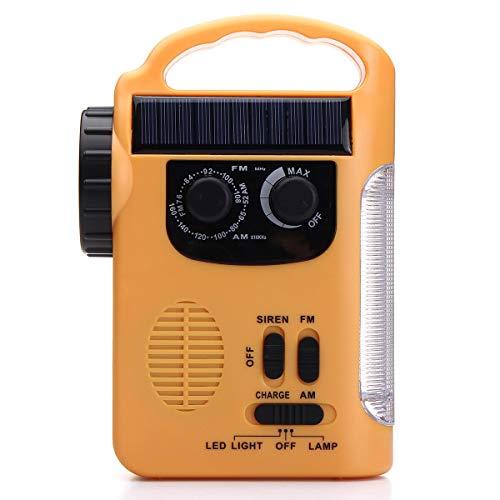 JIAMIN Dispositivos de audio y vídeo con energía solar AM FM Radio con linterna