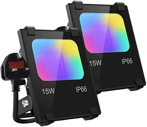 Mobri LED-strålkastare utomhus, 15 W Bluetooth smart strålkastare APP-kontroll, färgändrande RGB 100 W motsvarande, 2 700 K – timing – 16 miljoner färger – musiksynkronisering, IP66, UK 3-plugg, 2-pack