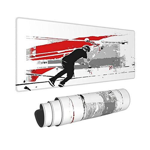Extra Groß Mauspad mit Genähten Kanten,XL-75 x 40 x 0.3cm,Das Deck drehen - Tail-Whip Scooter Stunt,Schreibtisch Mat Personalisiert für Die Arbeit Spiel Büro Computer Laptop