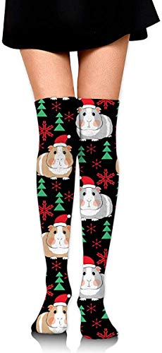 NA Damen Schenkelhohe Socken Overknee Strümpfe Stiefel Socken Einheitsgröße Weihnachts-Meerschweinchen