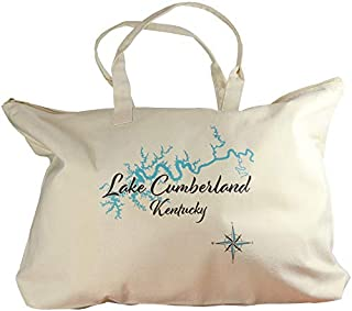 Tripp in ANDERSCOGGIN, ME (961 LS)- Lake Canvas Tote Bag 17 x 15 IN - Nautical chart and topographic depth map.