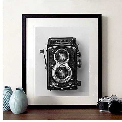 YXFAN Póster de cámara vieja Rolleiflex negro blanco Vintage cámara impresión Hipster regalo fotografía arte de pared lienzo pinturadecoración-40x60cm sin marco